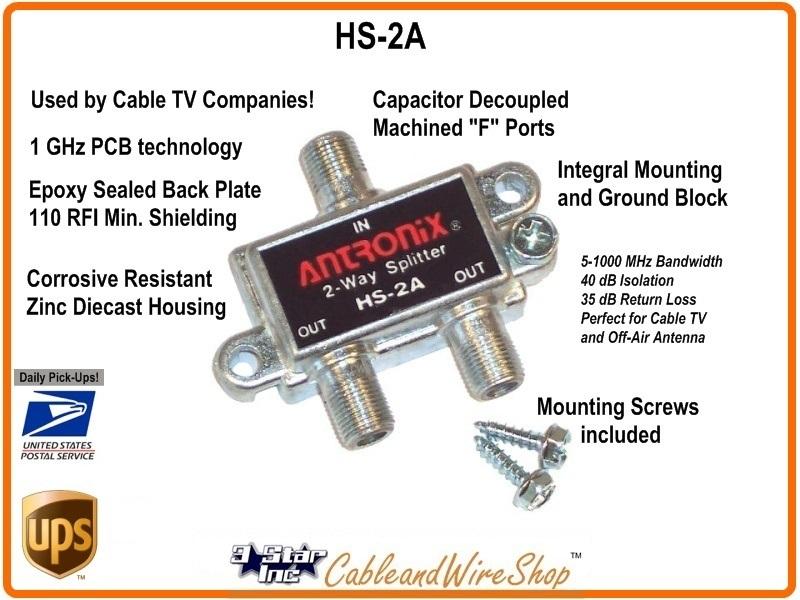 HS-2A 2-Way 1 GHz Coaxial Cable TV Antenna Splitter