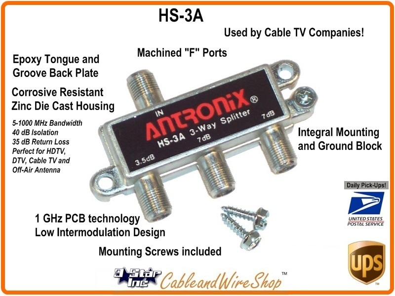 Antronix 3 Way Horizontal Splitter 5 1000 Mhz W Ground