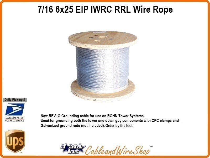 7/16 6x25 EIP IWRC RRL Wire Rope by the Foot | 3 Star Incorporated