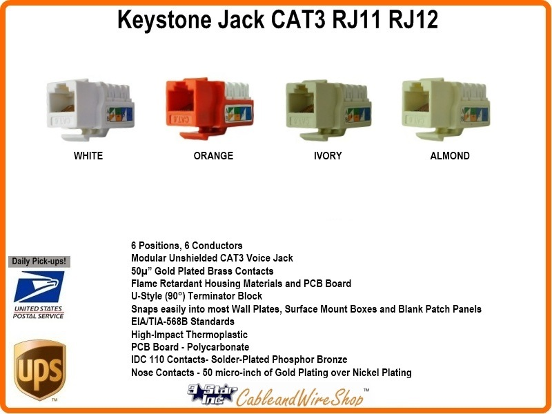 cat3 rj11 rj12 keystone voice jack almond u 3 star. Black Bedroom Furniture Sets. Home Design Ideas