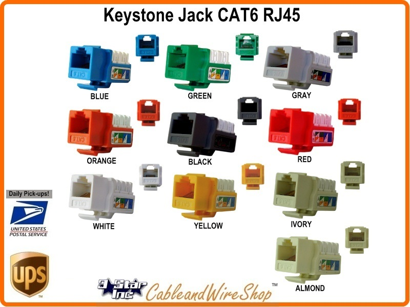 CAT6 RJ45 Keystone Voice Data Jack Black U 3 Star