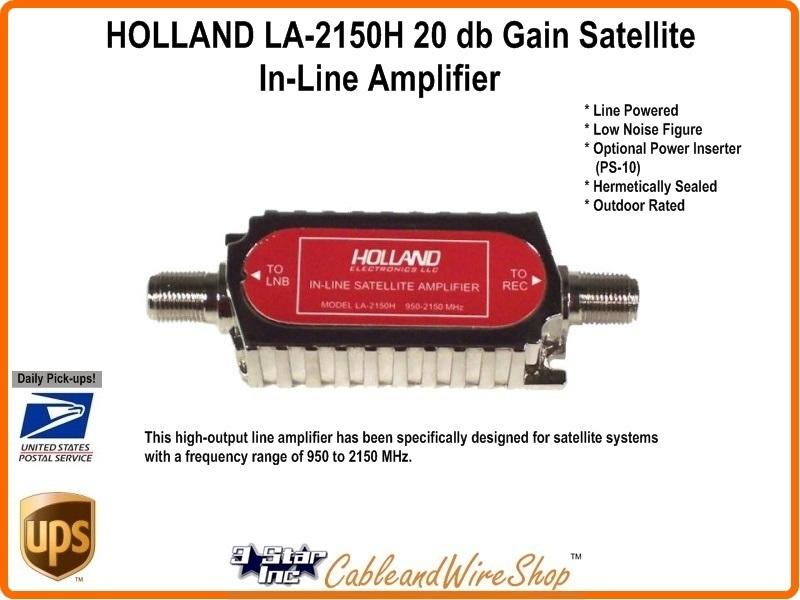 HOLLAND LA-2150H 20 db Gain Satellite In-Line Amplifier