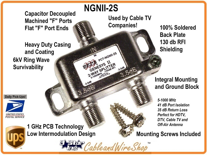 PCT NGNII-2S 2-Way Horizontal Splitter 5-1000 MHz