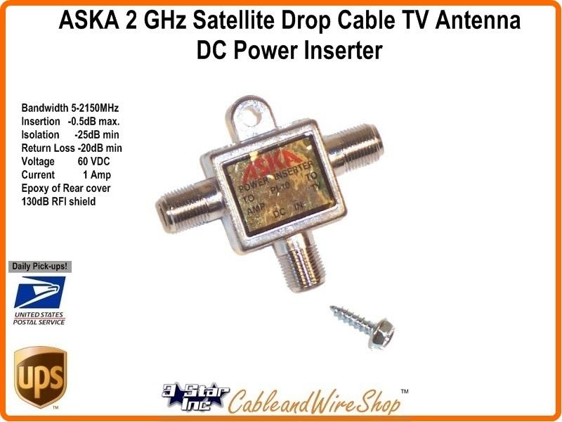 ASKA Horz  Power Inserter 5-2150 MHz  Power Pass -W- Ground