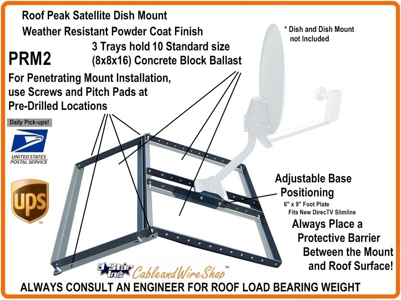Non Penetrating Pitched Roof Mount Also For Directv