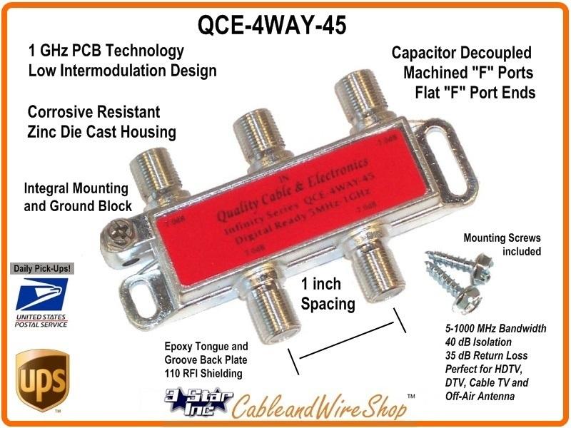 QCE 4-Way Horizontal Splitter 5-1000 MHz. -W- Ground   3 Star ...