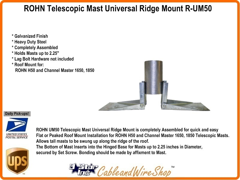 Rohn Telescopic Antenna Mast Universal Roof Peak Ridge Mount R Um50 3 Star Incorporated