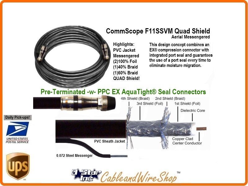 RG11 QUAD Shield Coaxial Cable for Aerial 150 Feet   3 Star Incorporated