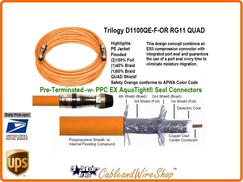 100 Ft Rg11 Quad Shield Coaxial Cable For Underground Use