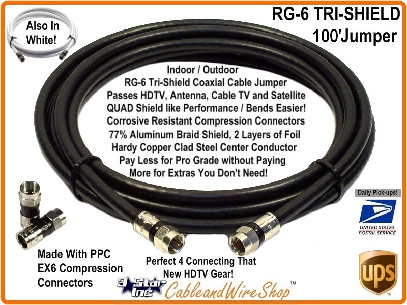 rg6 coaxial jumper cable hd tv antenna satellite 100 feet 3 star incorporated. Black Bedroom Furniture Sets. Home Design Ideas