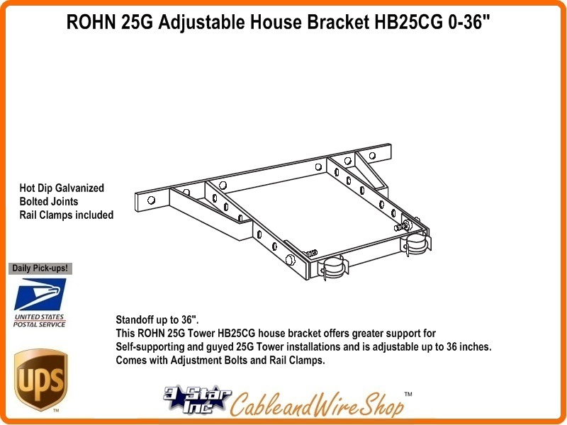 "36/"" inch 25G 45G 55G Tower ROHN HBUTVRO Heavy Duty Universal House Bracket 18/"""