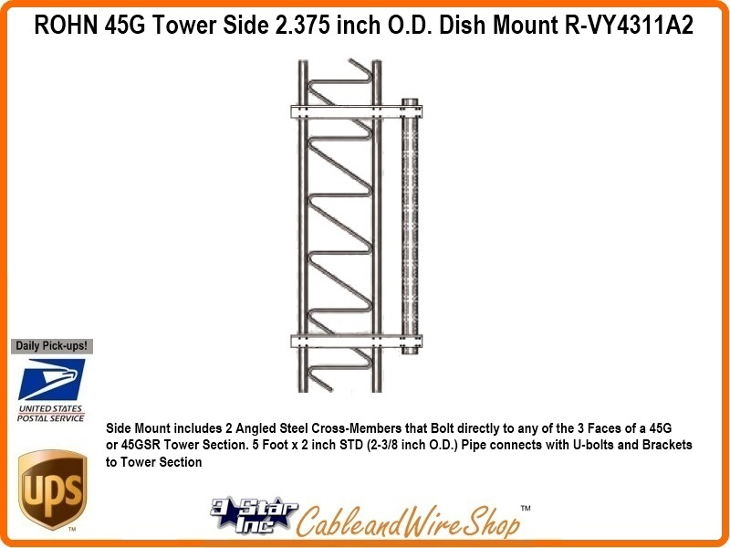 Rohn 45g Tower Side 2 375 Inch O D Dish Mount R Vy4311a2