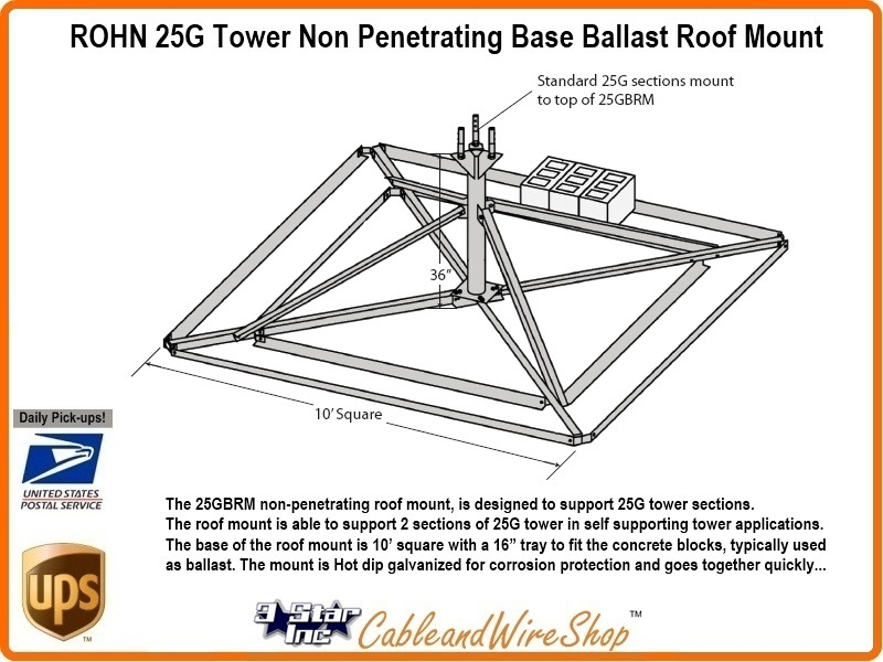 ROHN 25G Tower Non Penetrating Base Ballast Roof Mount R-25GBRM