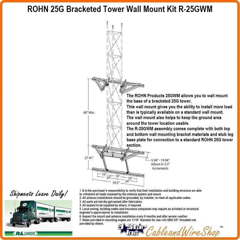 Rohn 25g Bracketed Tower Wall Mount Kit R 25gwm 3 Star