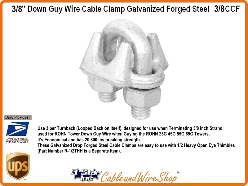 3 8 Quot Down Guy Wire Cable Clamp Galvanized Forged Steel 3