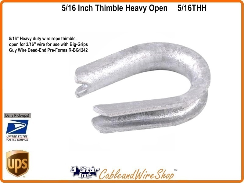 5/16 inch Heavy Duty Open Eye Wire Rope Thimble 5/16THH | 3 Star ...
