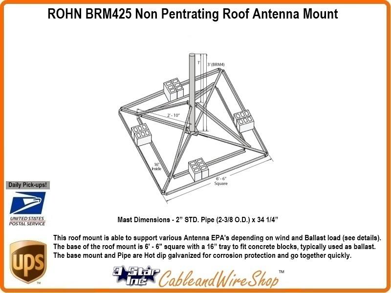 Rohn Brm425 Non Penetrating Roof Antenna Mount R Brm425