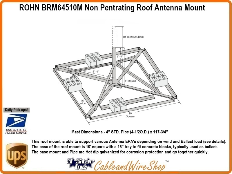 Rohn Brm64510m Non Pentrating Roof Antenna Mount R
