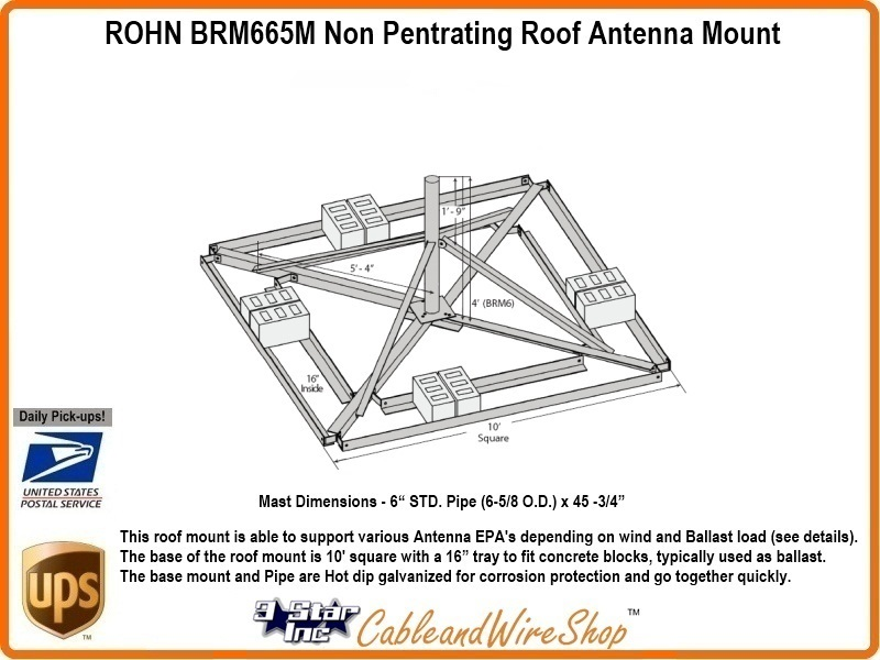 Rohn Brm665m Non Pentrating Roof Antenna Mount R Brm665m