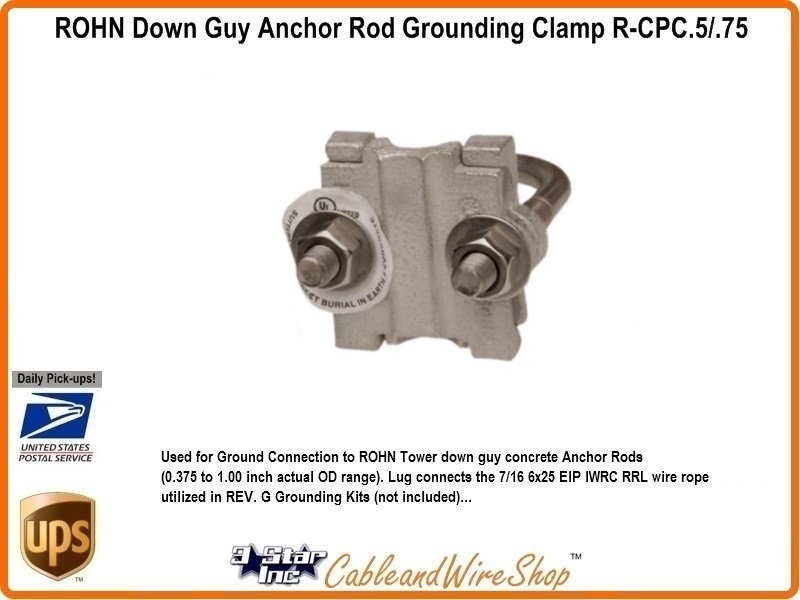 ROHN R-CPC.5/.75 Anchor Rod Ground Clamp | 3 Star Incorporated