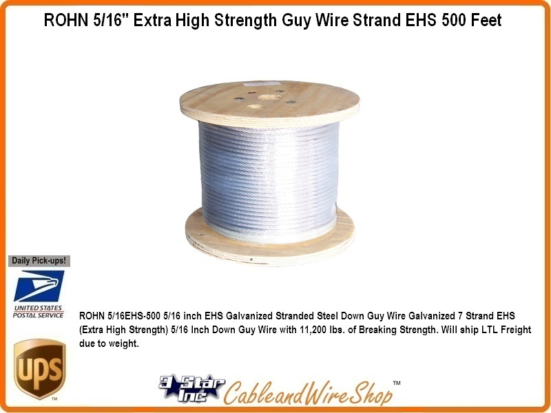 """500/' ROHN 3//16EHS500 3//16/"""" Extra High Strength Guy Wire for ROHN Tower"""