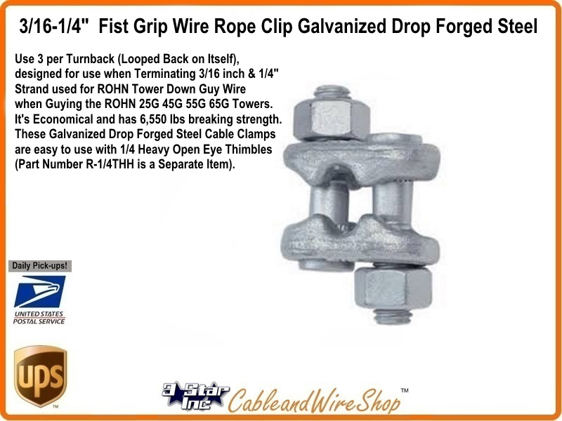 WIRE ROPE CLIP FIST GRIP HG 3/16-1/4\