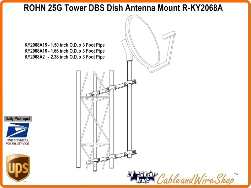 ROHN KY2068A15 Side Arm Mount Assembly for 25G Tower R-KY2068A15 Dish Mount