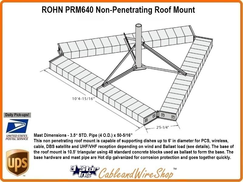 Rohn Prm640 Non Penetrating Roof Mount R Prm640 3 Star