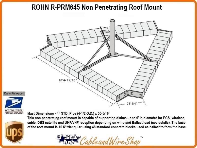 Rohn Prm645 Non Penetrating Roof Mount R Prm645 3 Star