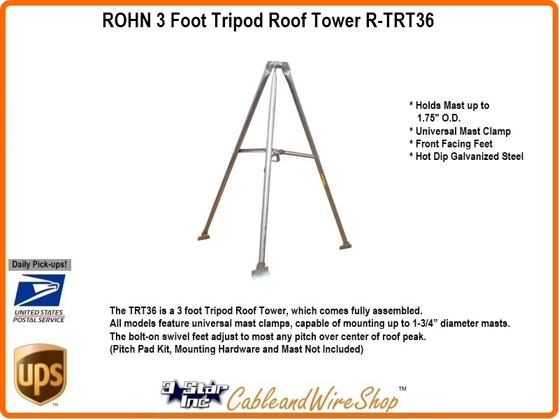 Rohn 3 Foot Tripod Roof Tower R Trt36 3 Star Incorporated