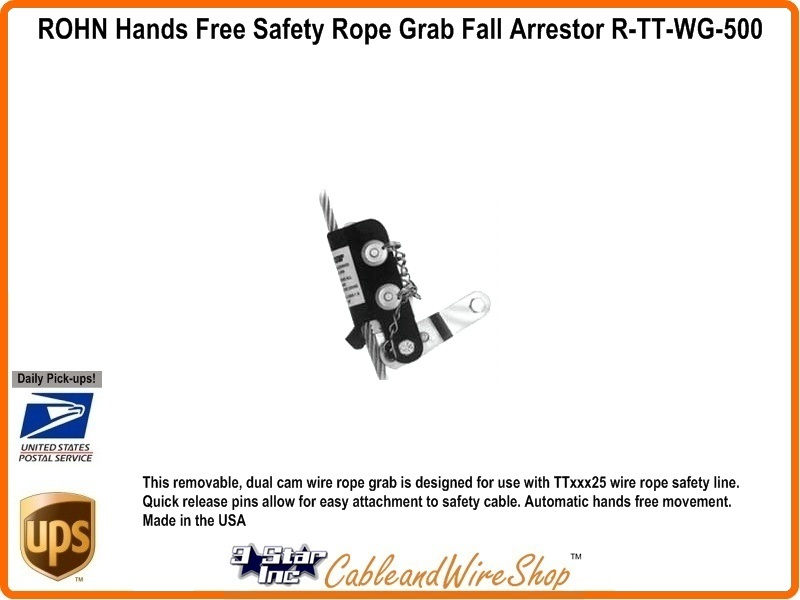 ROHN TUF TUG Hands Free Safety Wire Rope Grab Vertical Fall Arrestor ...