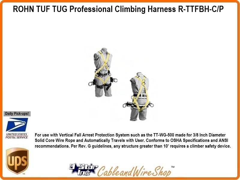 ROHN TUF TUG Professional Climbing Harness R-TTFBH-C/P   3 Star Inc Logo