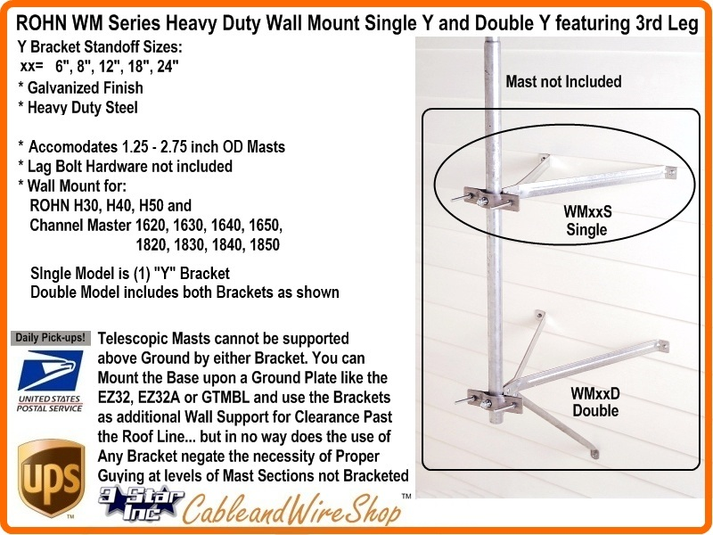 Rohn 12 Inch Single Mount Antenna Mast Bracket R Wm12s 3