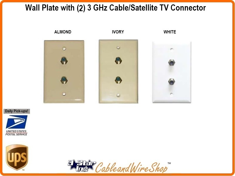 Dual Satellite Cable Tv F Port Wall Plate 3 Star Incorporated