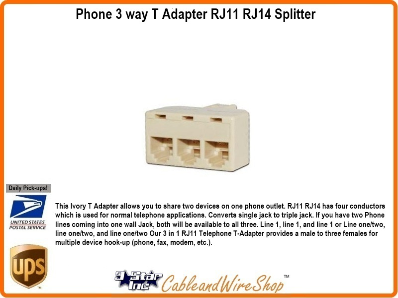 Phone 3 Way T Adapter Rj11 Rj14 Splitter