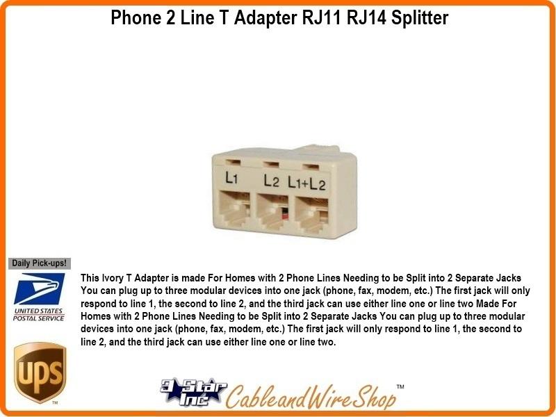 phone 2 line t adapter rj11 rj14 splitter 3 star. Black Bedroom Furniture Sets. Home Design Ideas