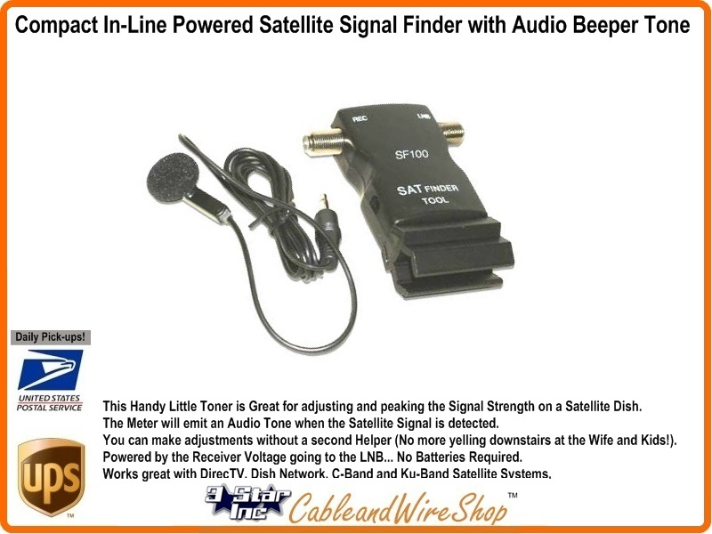 Compact In-Line Powered Satellite Signal Finder with Audio Beeper Tone