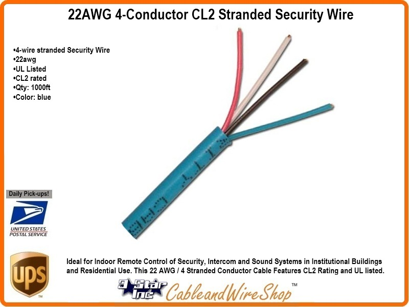 22AWG 4-Conductor CL2 Stranded Security Wire 500\' ft | 3 Star ...