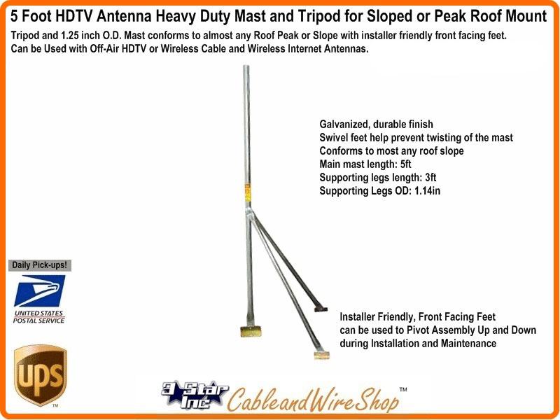 5 Foot Tripod With Antenna Mast For Sloped Or Peak Roof