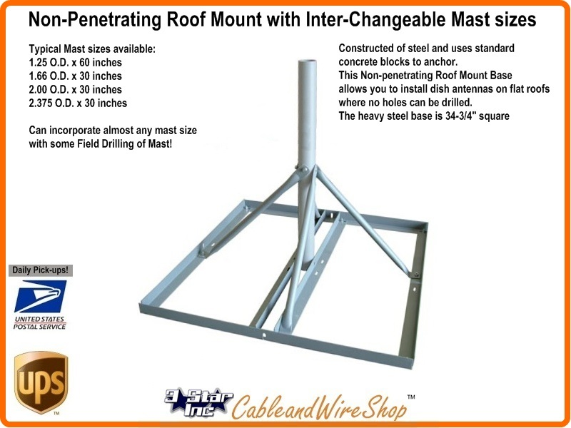 Non Penetrating Roof Mount With 2 00 Quot O D By 30 Quot Mast 3