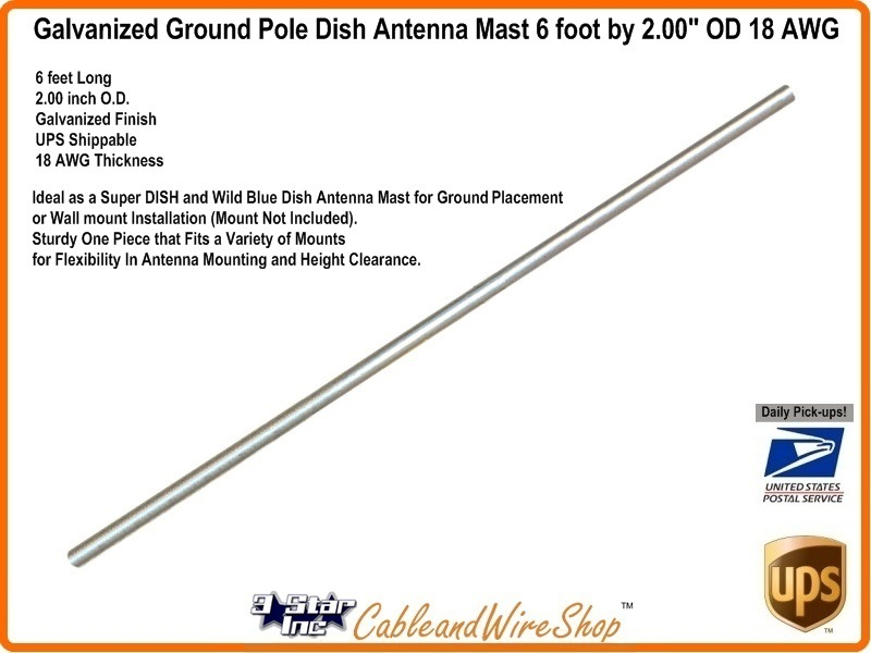 Satellite dish antenna ground pole mast 6 foot by 200 od 3 star satellite dish antenna ground pole mast 6 foot by 200 od greentooth Choice Image