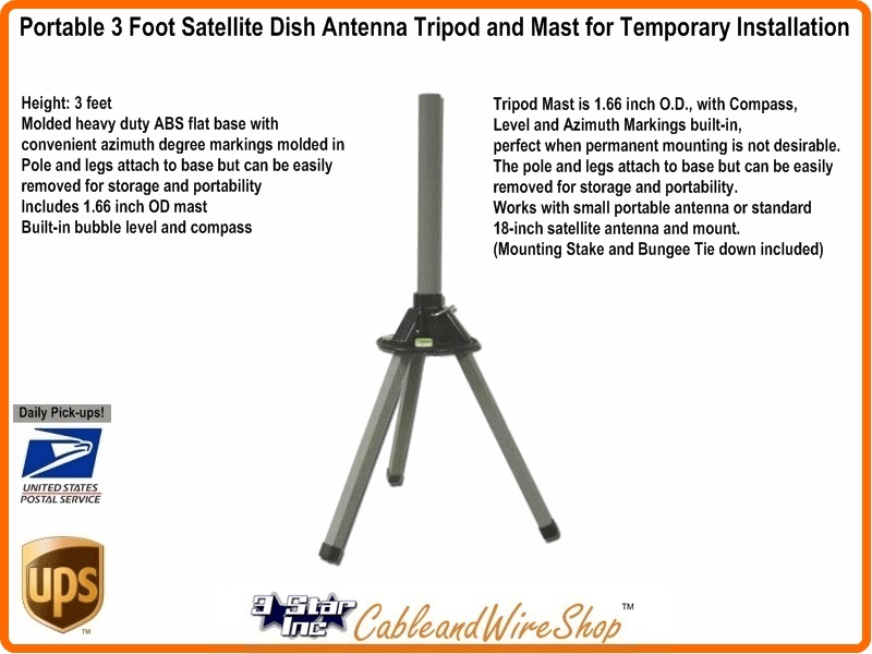Portable 3 Foot Satellite Dish Antenna Tripod With Mast