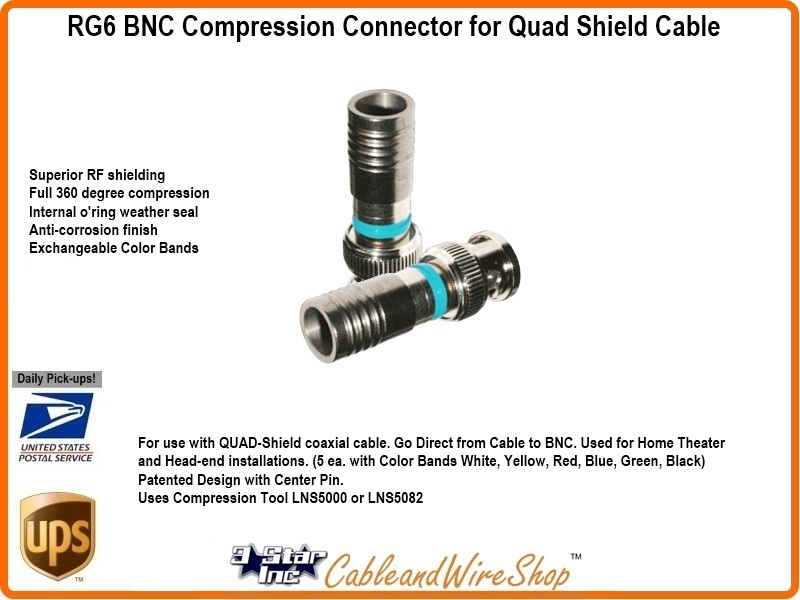 Rg6 Bnc Compression Connector For Quad Shield Cable 3