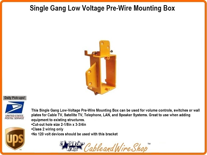 Single Gang Low Voltage Pre-Wire Mounting Box on