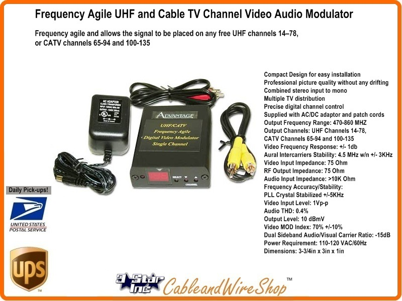 Frequency Agile UHF and Cable TV Channel Video Audio Modulator