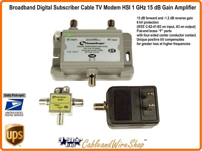 Broadband Digital Subscriber Cable TV Modem HSI 1 GHz 15 dB Gain Drop  Amplifier