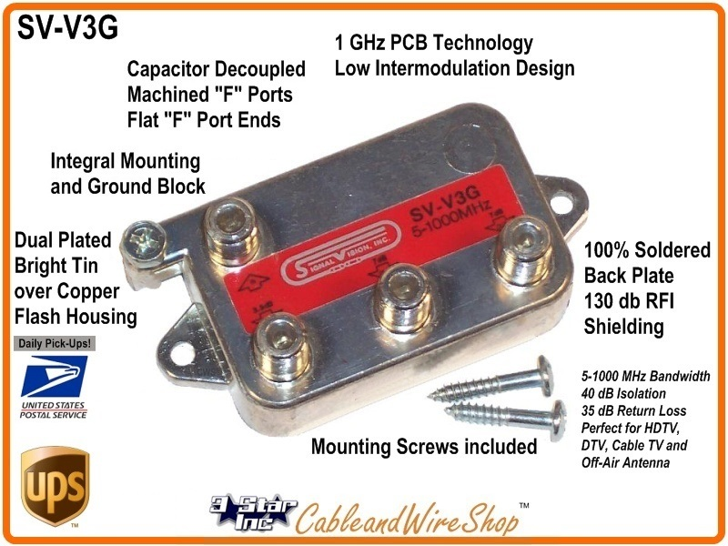 Signal Vision 3-Way Vertical Splitter 5-1000 MHz  -W- Ground