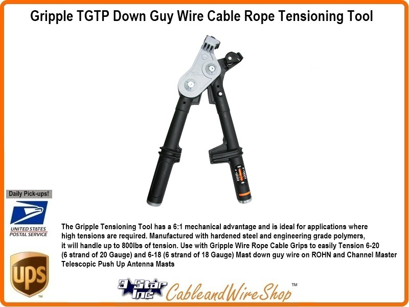 Gripple Tensioning Tool for Antenna Mast Down Guy Wire Rope Grip TGTTP