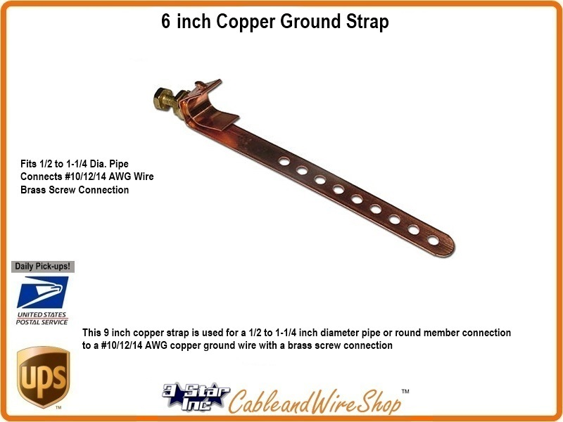 Thomas & Betts TNB4008 6 inch Copper Ground Strap | 3 Star Incorporated