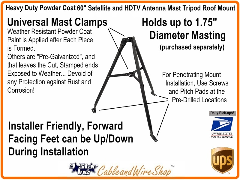 60 Inch Roof Mount Tripod for Antenna Mast